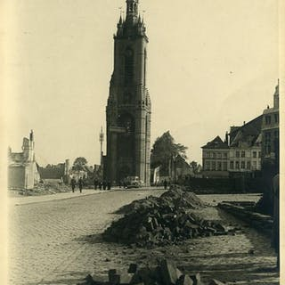 Belgium WWII Tournai Belfry Destruction Doornik old Photo...