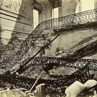 Siege of Paris Commune Ruins Saint Cloud Palace Stairs Old Liebert Photo 1870 G