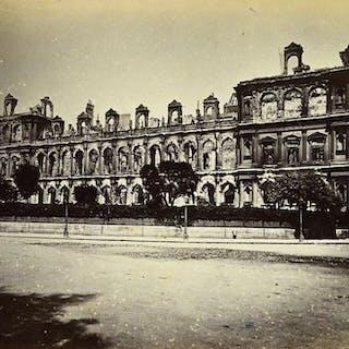 Siege of Paris Commune Ruins City Hall Side Façade Old Liebert Photo 1871 G