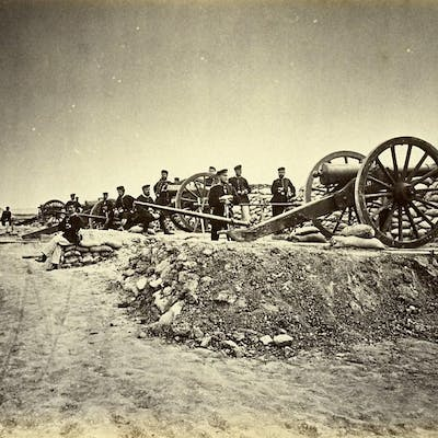 Siege of Paris Battery Prussians at Fort of Aubervilliers...
