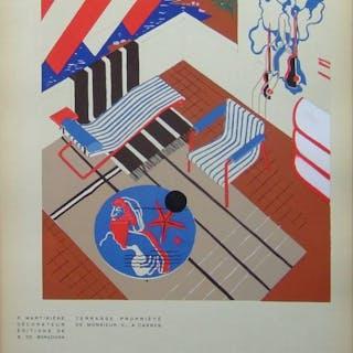 P. MARTINIERE, TERRASSE A CANNES - 1930 - POCHOIR, ART DECO   Architecture