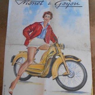 Plaquette Publicitaire Monet & Goyon   Motocyclettes,Publicité
