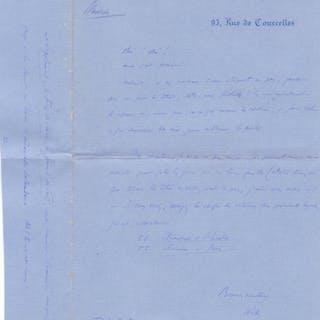 Lettre autographe signée à Alfred Vallette Henri...