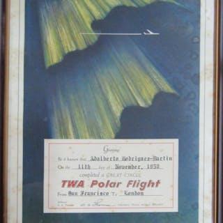 Carta de agradecimiento de TWA Polar Flight