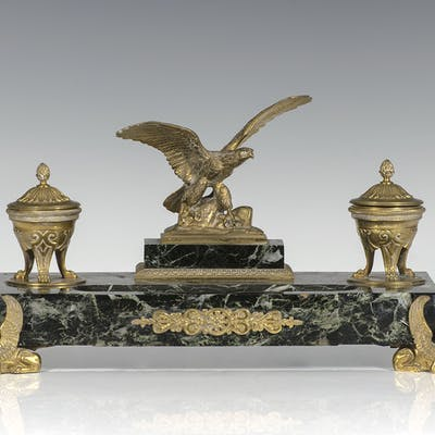 Early 20th Century French Empire Dor'e Bronze Eagle Inkwell