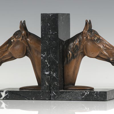 Antique Austrian Bronze Horsehead Bookends. Bookends First Edition