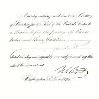Ulysses S. Grant Autograph Document Signed. Grant, Ulysses S Americana