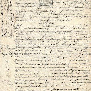 Apostille autographe signée en marge d'une lettre de Lhéritier BARRAS Paul