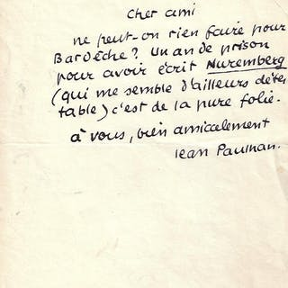Lettre autographe signée PAULHAN Jean