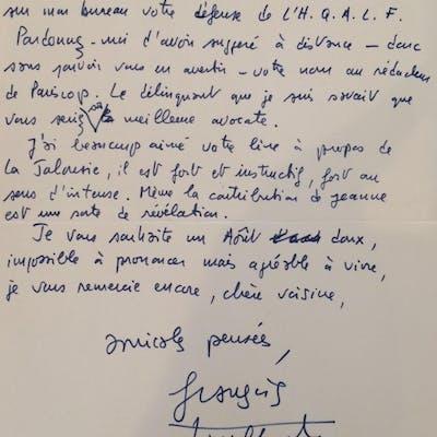 Lettre autographe signée TRUFFAUT François