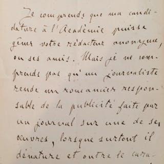 Lettre autographe signée ZOLA Emile