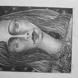 lithografie frauenporträt
