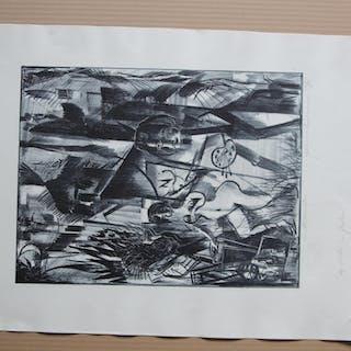 lithografie weiblicher akt