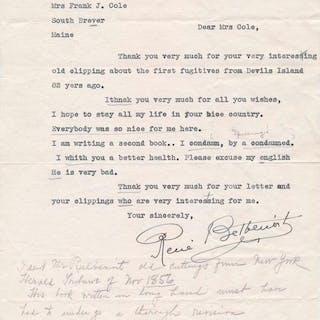 Typed Letter Signed BELBENOIT, Rene (1899-1959) Authors,Autographs