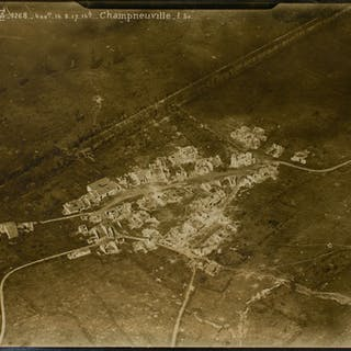 Three aerial photographs of the small village of Champneuville