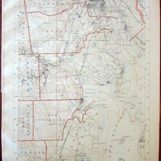 Topographic Map Rhode Island.Providence Narragansett Bay Cranston Warwick 1891 Coastal Rhode