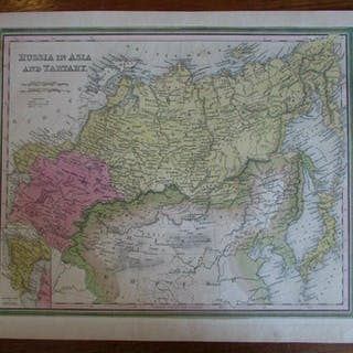 Map Of Asia Japan And China.Russia In Asia Tartary China Japan C 1846 Mitchell Scarce Antique