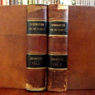 Australia Van Diemens Land emigration 1855 Chambers Encyclopedia 2 vol leather s