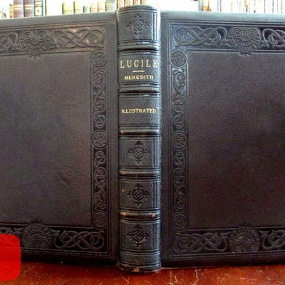 Decorative leather book 1882 Osgood Lucile Meredith Anthony wood engravings
