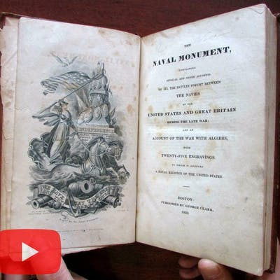 Naval Monument 1830 Battles of U.S. leather book w/ 25 engraved plates ships