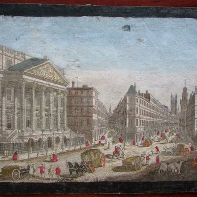 London England Mansion House active street view c.1760...