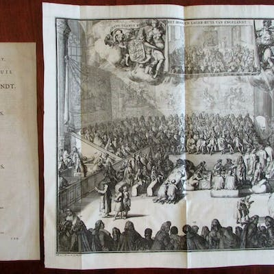 British Parliament large 1741 engraved view print Covens...