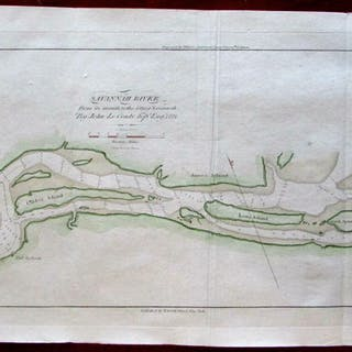 Savannah River 1833 Blunt coastal map chart Tybee Island...