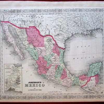 Mexico Texas 1867 Johnson territorial Arizona Tehuantepec Isthmus inset   Mexico