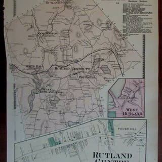 West Rutland Centre New Boston Pound Hill 1870 Worcester Co. Mass. detailed map