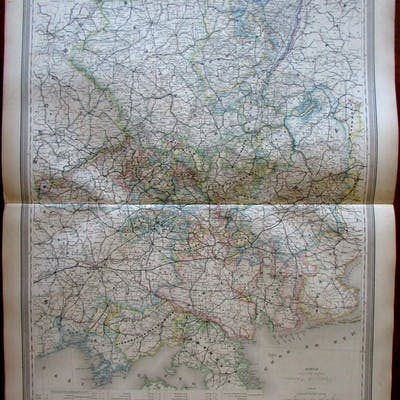 Eastern Germany 1859 fine old large vintage antique hand color map   Germany