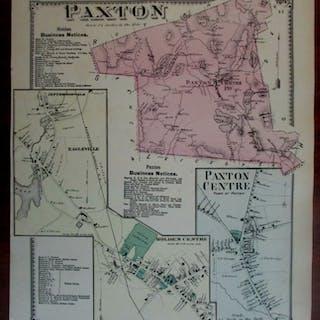 Paxton Centre Holden Eagleville Jeffersonville 1870 Worcester Co. Mass. map