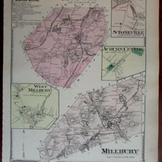Auburn Stoneville Millbury Bramanville 1870 Worcester Co. Mass. detailed map