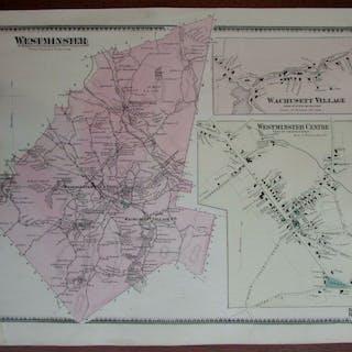 Westminster Centre Wachusett Village 1870 Worcester Co. Mass. detailed map