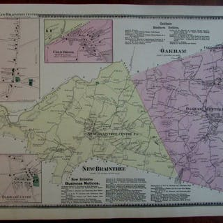 Oakham Centre New Braintree 1870 Worcester Co. Mass. detailed map