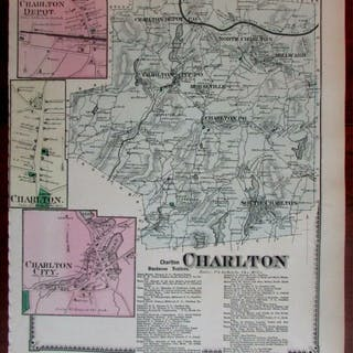 Charlton South P.O. Depot North Millward 1870 Worcester Co. Mass. detailed map