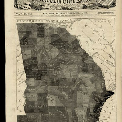 Georgia map showing % slave population by county 1861...