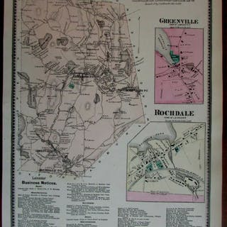 Town of Leicester Greenville Rochdale 1870 Worcester Co. Mass. detailed map