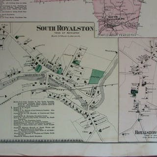 Royalston South & Centre 1870 Worcester Co. Massachusetts detailed map