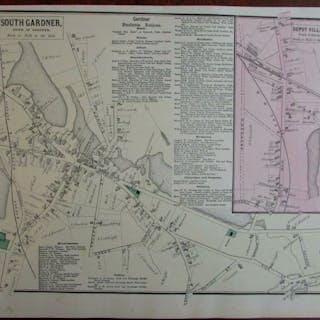 South Gardner Depot Village 1870 Worcester Co. Mass. detailed map