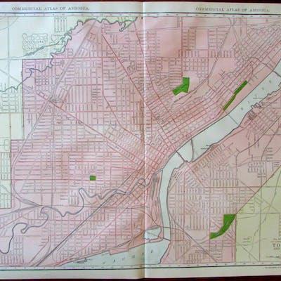 Toledo city plan and Environs c.1913 huge Rand McNally...