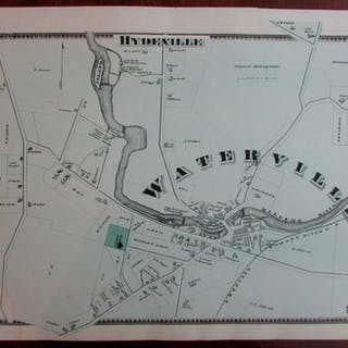 Waterville Hydeville 1870 Worcester Co. Massachusetts detailed map