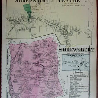 Shrewsbury Centre P.O. South Village 1870 Worcester Co. Mass. detailed map