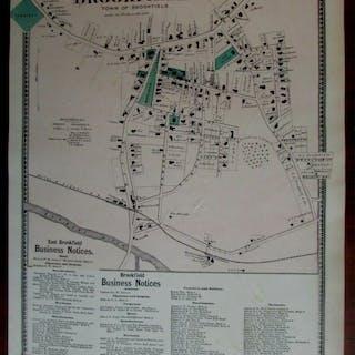 Town of Brookfield East 1870 Worcester Co. Mass. detailed map hotels merchants