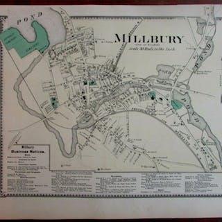Millbury city plan Blackstone River 1870 Worcester Co. Mass. detailed map