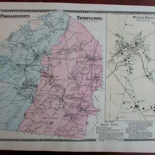 Phillipston Templeton Otter River 1870 Worcester Co. Mass. detailed map