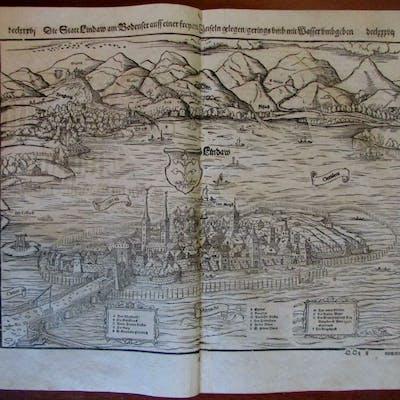 Lindau Germany panorama 1590's Munster old wood cut...