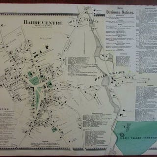 Barre Center 1870 Worcester Co. Mass. detailed genealogical map many owners