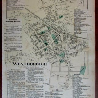 Westborough city plan 1870 Worcester Co. Mass. detailed map