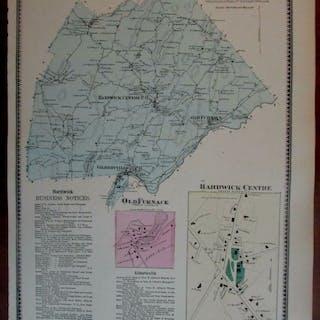 Hardwick Centre Gilbertville Old Furnace 1870 Worcester Co. Mass. detailed map