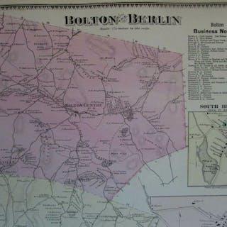 Bolton South Berlin Centre Carterville 1870 Worcester Co. Mass. detailed map
